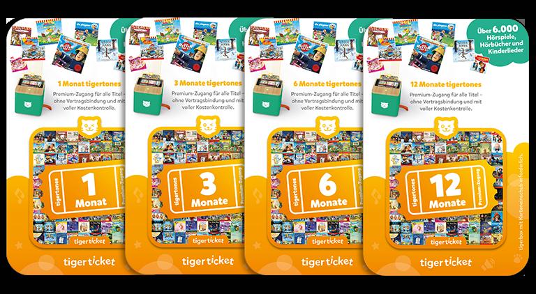 Das tigerticket gibt es in vier Versionen, mit einem tigertones-Premiumzugang für einen, drei, sechs und zwölf Monate.