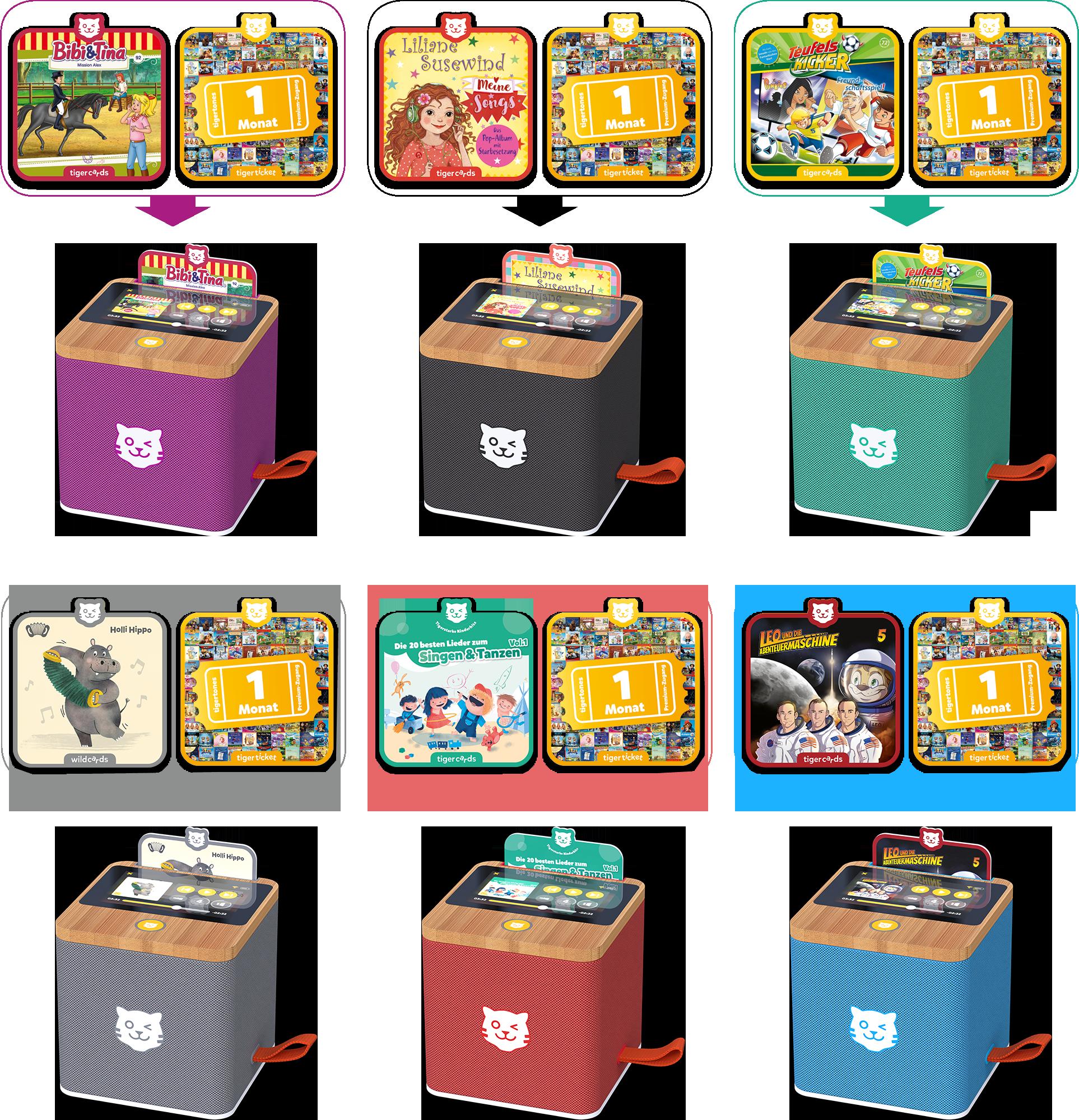 Die tigerbox TOUCH gibt es in 6 Farben (Lila, Schwarz und Grün und tigerstarkem Startpaket.