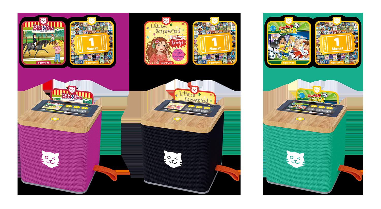 Die tigerbox TOUCH gibt es zum Start in Lila, Schwarz und Grün und tigerstarkem Startpaket.