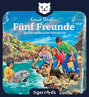 Die neue tigercard heißt Fünf Freunde und der Delfin in der Felsenbucht und ist das 112. Abenteuer.