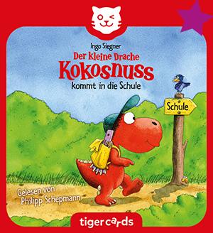 Der kleine Drache Kokosnuss kommt in die Schule und trifft den Fressdrachen Oskar auf der tigercard.