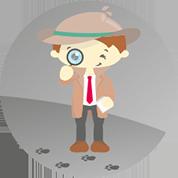 Ein kleiner Detektiv geht in seiner eigenen Krimi-Hörspiel-Welt mit Lupe auf große Spurensuche.