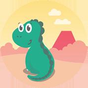 Neugierig sitzt ein kleiner grüner Dino bei seinem Vulkan und wartet auf sein nächstes Abenteuer.
