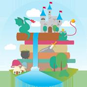 Ein Turm aus Märchenbüchern erhebt sich mit Drachen, Burg und Excalibur in der neuen Hörspielwelt.