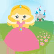 Eine kleine Prinzessin erwartet dich im rosa Kleid und Diadem in ihrer Prinzessinnen-Hörspielwelt.